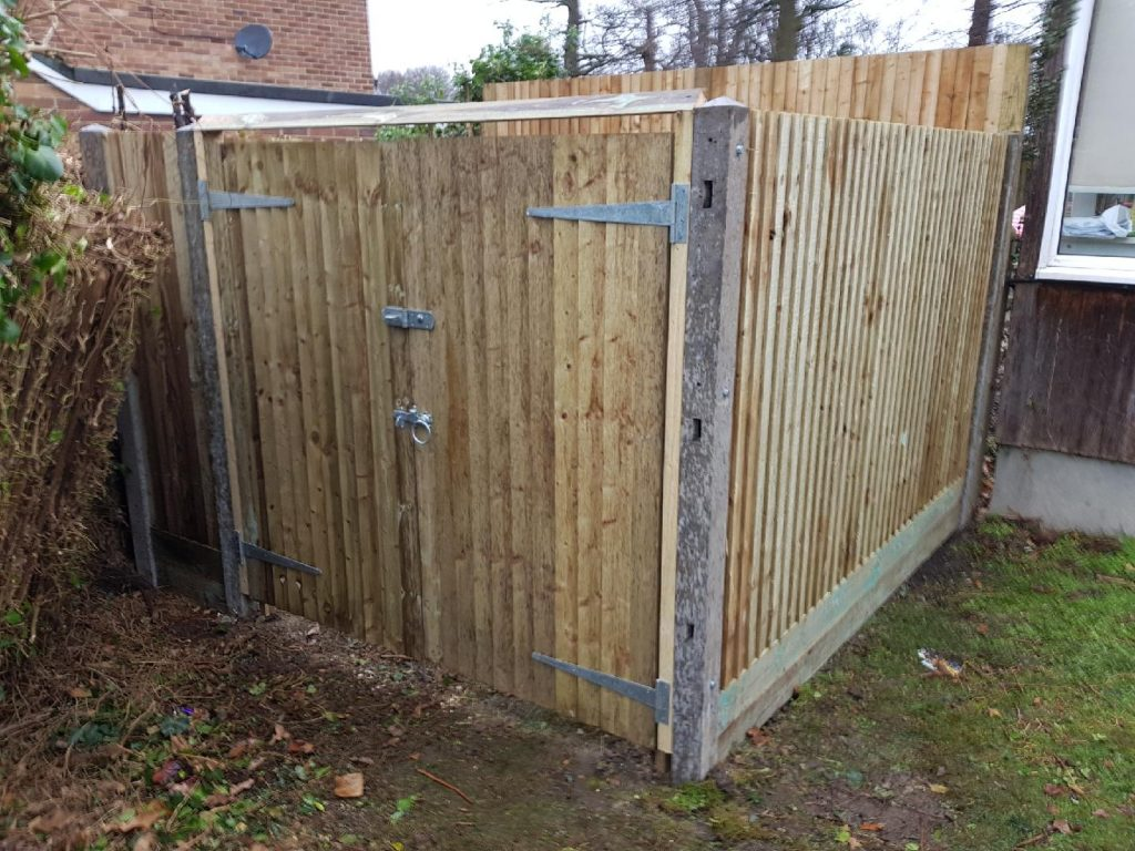 Double gates for bin storage by South London Fencing