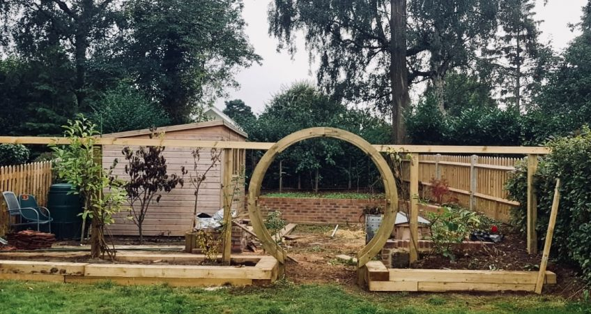 South London Fencing's Moon Gate in a garden in Caterham